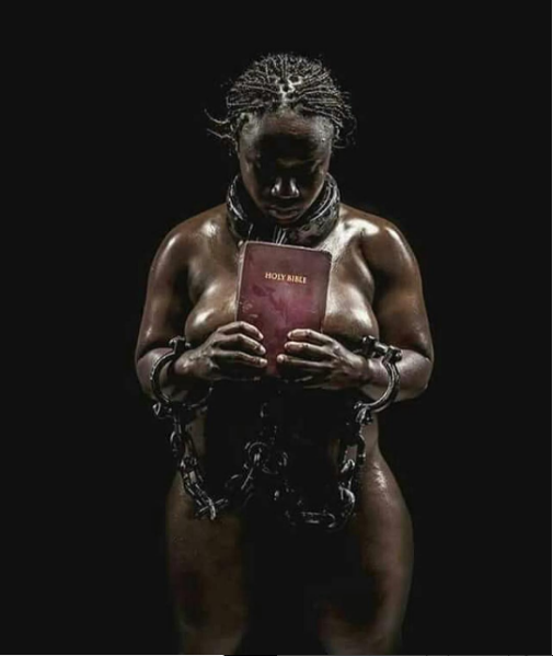 Naked woman in chains